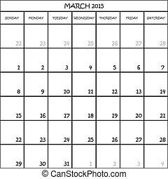 planificateur, mars, mois, fond, 2015, calendrier, transparent