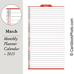 planificateur, mars, -, montly, 2015, calendrier