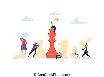 planification, business, femme affaires, concept., illustration, stratégie, leadership., pieces., vecteur, concurrence, caractères, chess., homme affaires, jouant échecs