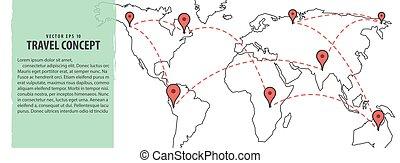 planification, carte, &, voyage, illustration, arrière-plan., vecteur, emplacement, mondiale, bannière, concept.