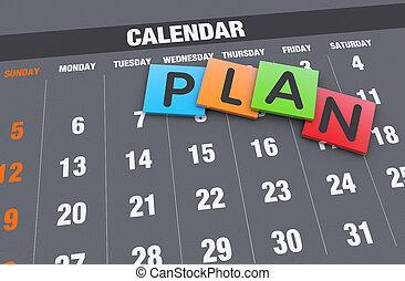 planification, concept, calendrier