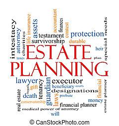 planification, concept, mot, propriété, nuage