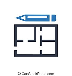 planification, construction, icône
