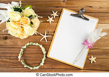 planification, diadème, etoile mer, rose, papier, bouquet, stylo, bandeau