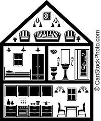 planification, icône, maison