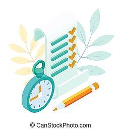 planification, isométrique, concept, checklist., partition, liste contrôle, complété, garder, projet, presse-papiers, list., to-do, gestion, task.