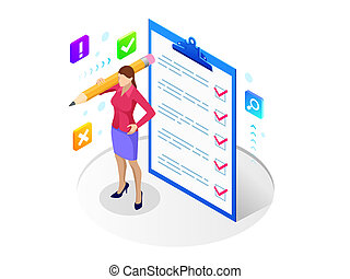 planification, isométrique, tâches, checklist., partition, femme affaires, concept., garder, projet, presse-papiers, liste contrôle, list., gestion, complété