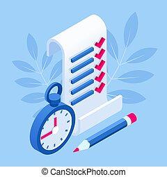 planification, isométrique, tâches, checklist., partition, liste contrôle, concept., garder, projet, presse-papiers, list., gestion, complété
