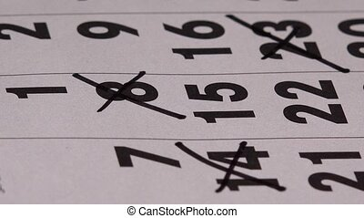 planification, mois, papier, marqueur, calendrier,...