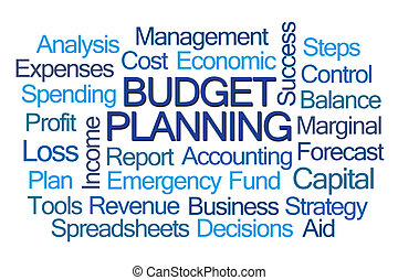 planification, mot, budget, nuage