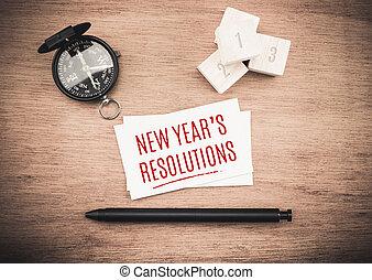planification, mot, business, sommet bois, année, stylo, table, noir, compas, nouveau, resolutions, carte, vue