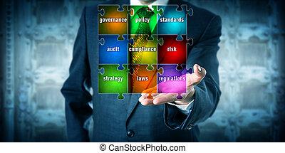 planification, présentation, virtuel, directeur, grc, matrice