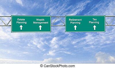 planification, route, propriété, signes