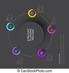 planification, -, sombre, stratégique, vecteur, processus, diagramme, concept