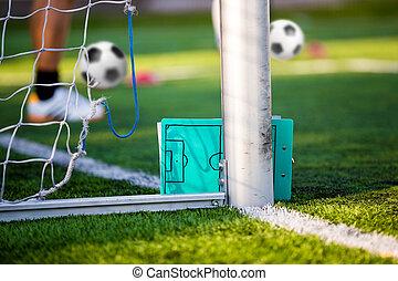 planification, tactique, -, stratégie, football, noir, board., football, croquis, vert