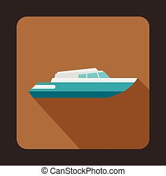 Planing powerboat icon, flat style