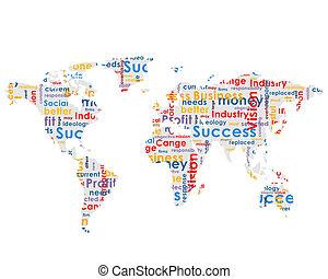 planisphère, à, business, mots