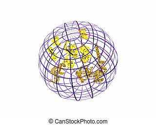 planisphère, à, monnaie, symbols.