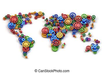 planisphère, concept., international, gears., relations affaires, économie globale