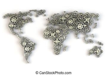 planisphère, concept., international, métallique, gears., relations affaires, économie globale