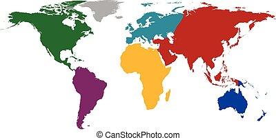 planisphère, continents., coloré