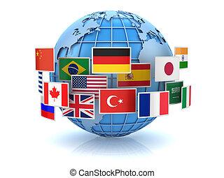 planisphère, et, pays, drapeaux