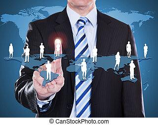 planisphère, homme affaires, toucher