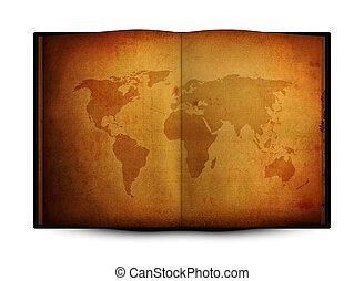 planisphère, livre, ouvert, vieux, grunge