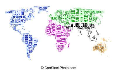 planisphère, nuage, texte