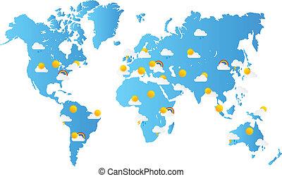 planisphère, prévisions météorologiques