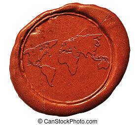 planisphère, signe, sur, anneau d'étanchéité en cire