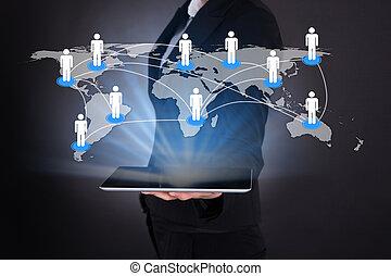 planisphère, tenue, connecté, numérique, femme affaires, tablette