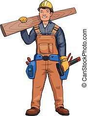 plank., ábra, fából való, ács, elszigetelt, háttér., vektor, birtok, fehér, építő, boldog
