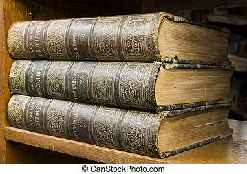 plank, boekjes , oud