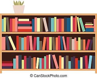plank, books., vector, illustratie, bookshelf.