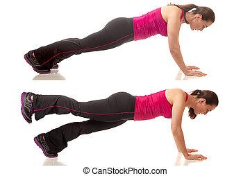 Plank Exercise - Plank abdominal exercise. Studio shot over...