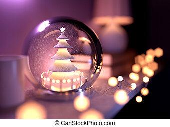 plank, globe, sneeuw, kerstmis
