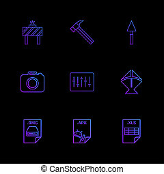 plank, hamer, fototoestel, appel, dmg, bestand, spade, equilizer, vlieger, excel, bestand, apk, android, bestand, negen, eps, iconen, set, vector