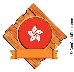 plank, houten, vlag, hong kong