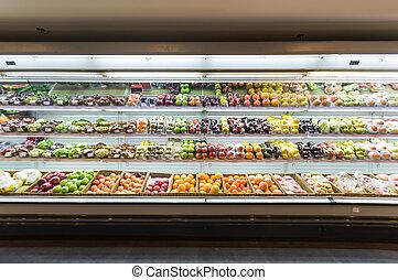 plank, met, vruchten, in, supermarkt