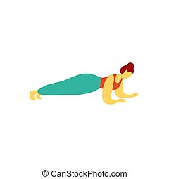 plank., pociągnięty, ilustracja, trening, kobieta, lekkoatletyka, exercise., młody, ręka, gimnastyczny, wektor, płaski