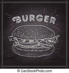 plank, scetch, black , hamburger