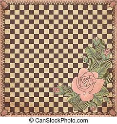 plank, schaakspel, roos, ouderwetse