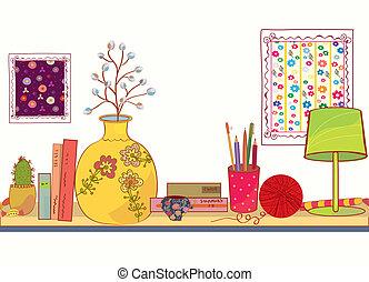 plank, spotprent, voorwerpen, boek, woning