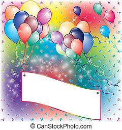 plank, uitnodiging, feestje, het vallen, ballons, kaart