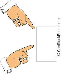 plank, wijzende, handen