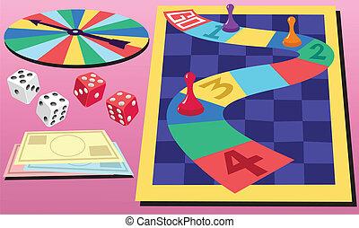 planke boldspil, og, terninger