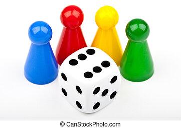 planke boldspil stykke, og, terninger