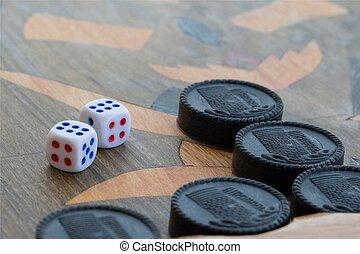 planke, by, en, boldspil, i, backgammon