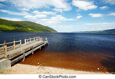 planked footway on Loch Ness - Planked footway on Loch Ness...